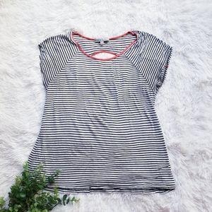 🛍Vintage Suzie White & Black Stripped Blouse